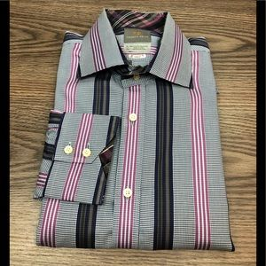 Thomas Dean Blue, Purple & Grey Stripe Shirt XL